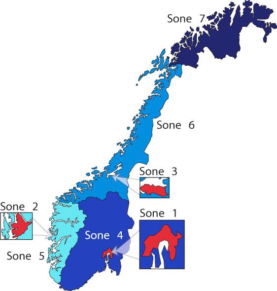 Kartet viser de tre byområdene og fire store regionene norsk luftkvalitet vurderes ut fra.