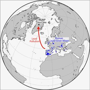 Kart som viser hvor NGRIP-iskjernen ble boret ut, og hvor de romerske sølvgruvene befant seg