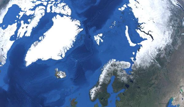 Bilde av jordkloden med fokus på Grønland