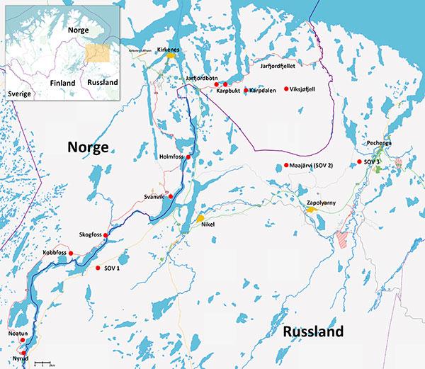 Kart over grenseområdene mellom Norge og Russland