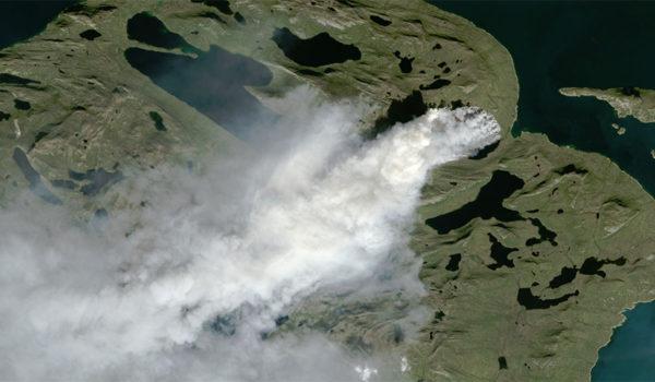 Satellittbilde av torvbrann på Grønland