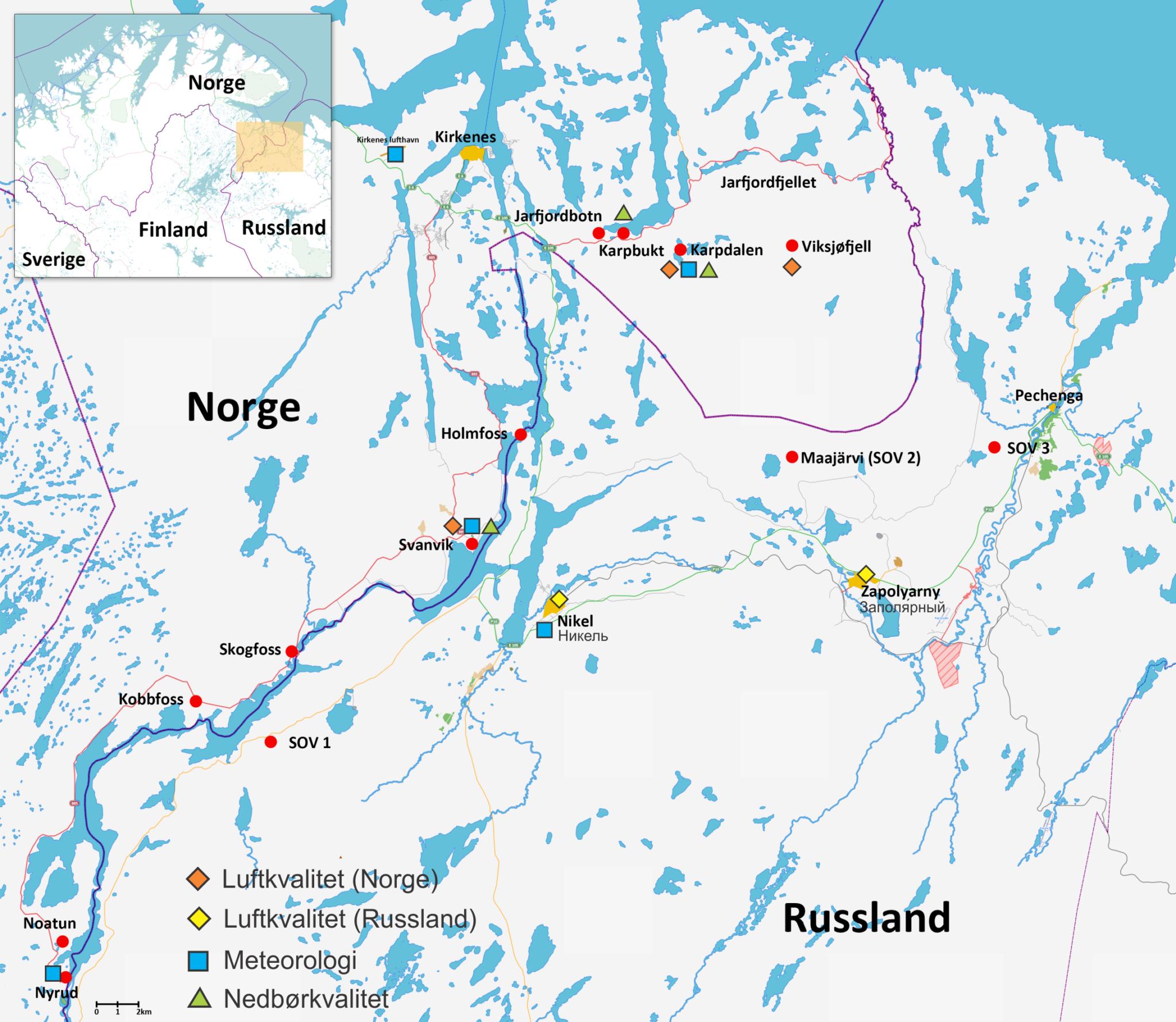 Figur. Viser norske målestasjoner i grenseområdene mot Russland