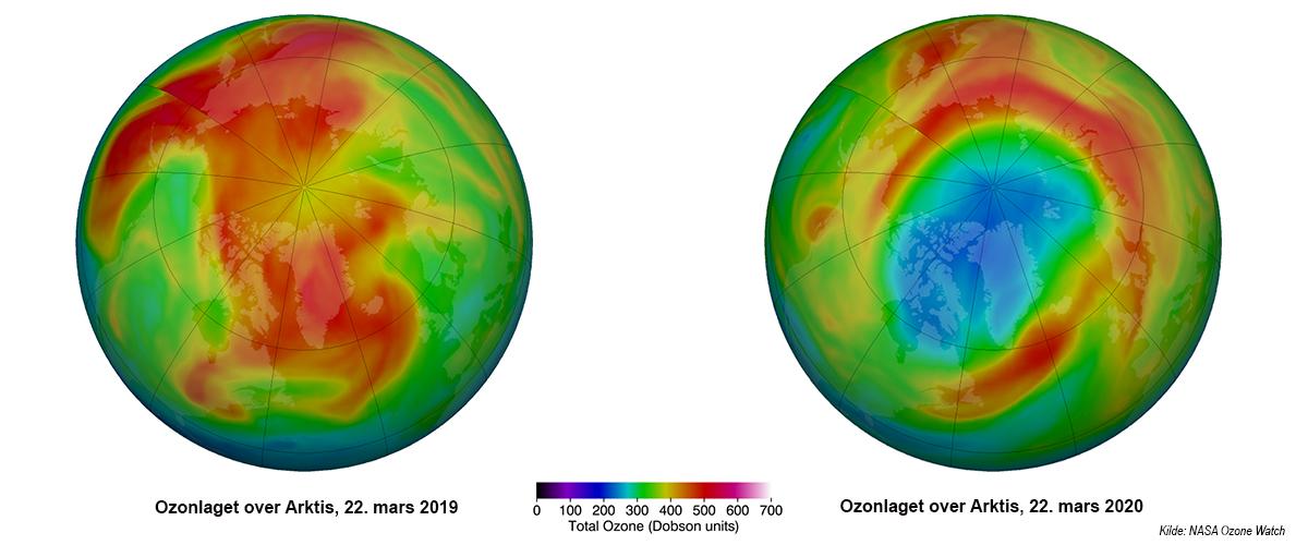 Ozonlaget over Arktis 22. mars 2019 vs 22. mars 2020