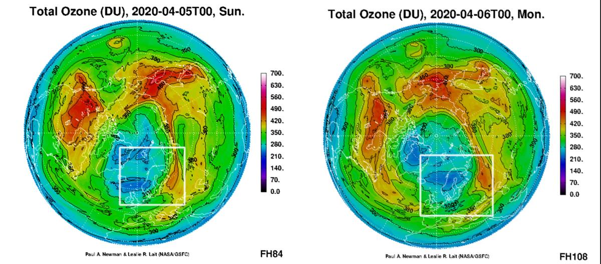 Slik varsler NASA/GSFC at ozonhullet kan være plassert 5. og 6. april.