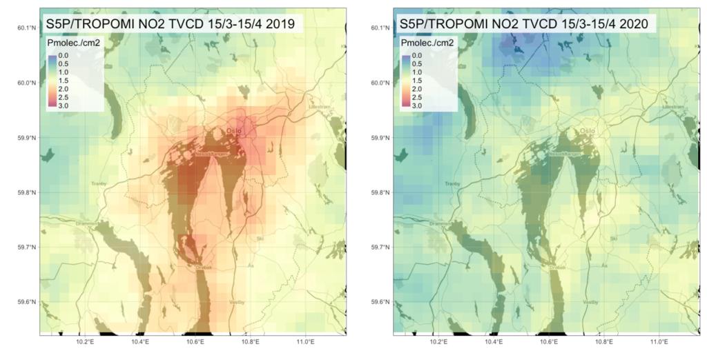 Forurensning over Oslo - forografert fra Sentinel5P-satellitten