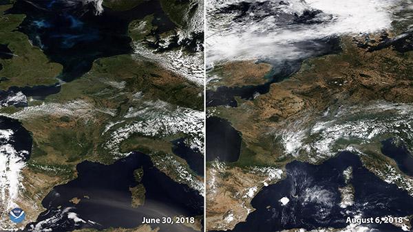 Satellittfoto av Europa sommeren 2018