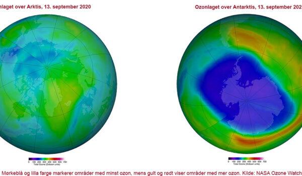 Ozonlaget over hhv Arktis og Antarktis, 13. september 2020
