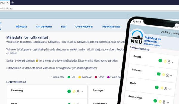 Screenshot av ny portal for måledata for luftkvalitet