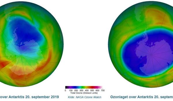 Ozonlaget over Antarktis 20. september i 2019 og 2020